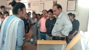 Observation of science exhibition in college by principal & staff